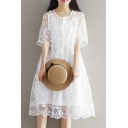 Floral Crochet Round Neck Half Sleeve Two Pieces Loose Midi A-line Dress