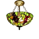 Vintage Style Tiffany Double/Triple Light Semi-Flush Ceiling Fixture with Grape Pattern Stained Glass Shade