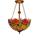 Inverted Semi-Flush Mount Ceiling Fixture with Red Rose Embellished, Tiffany Art Glass Shade in 16-Inch Wide, 3-Light