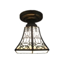 Geometric Tiffany Art Glass Shade Flush Mount Ceiling Light in Vintage Style 2 Designs for Option