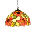 Two Light Ceiling Fixture Tiffany Sunflower Series Pendant with Dome Glass Shade, 16