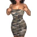 Women's Strapless Camouflaged Pattern Mini Bodycon Summer Dress