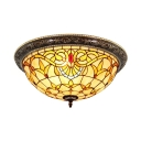Splendid Tiffany Flush Mount Ceiling Light with Tulip Pattern Glass Shade in Victorian Style