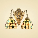 14-Inch Wide Tiffany Glass Shade 2-Light Wall Sconce with Grid Pattern Embellished in Multicolor