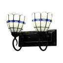 White Lily Floral Stained Glass Shade 2-Light Inverted Sconce in Tiffany Style