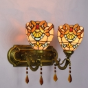 Victorian Design Tiffany Double Head Wall Sconce with Crystal Decoration
