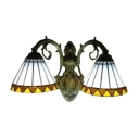 European Tiffany Style 2 Arms Stained Glass Shade in Old Bronze Finish