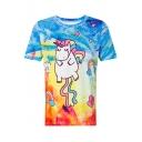 Fancy Cartoon Unicorn Printed Round Neck Short Sleeve Tee