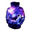 Planet Galaxy Printed Long Sleeve Hoodie