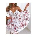 Floral Printed Halter Crochet Embellished Hollow Out Back Mini A-Line Dress