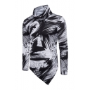 Men's Fashion Splash Color Block Print Asymmetrical Hem Cowl Neck Tee