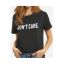 DON'T CARE Letter Short Sleeve Round Neck Tee