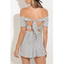 Chic Striped Pattern Bow Tie Hollow Back Off the Shoulder Mini A-line Dress
