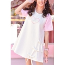 Girly Sweetheart Letter Print Color Block Bow Detail Round Neck Mini T-shirt Dress