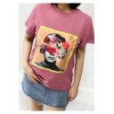 Fashionable Floral Character Print Round Neck Short Sleeves Casual Tee