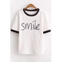 Stylish Contrast Trim SMILE Letter Print Round Neck Short Sleeves Casual Tee