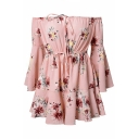 Spring Collection Floral Print Drawstring Waist Off the Shoulder Bell Sleeve Casual Romper