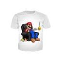 Retro Game Cartoon Sofa Print Round Neck Short Sleeves Summer T-shirt
