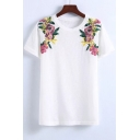 Trendy Floral Embroidery Round Neck Short Sleeves Casual Tee