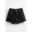 Chic Ripped Plain Zipper Fly High Waist Hot Pants Leisure Denim Shorts