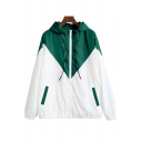 Retro Color Block Long Sleeve Leisure Zip Up Loose Hooded Coat