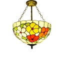 16-Inch Wide Tiffany 3 Light Semi-Flushmount Light in Floral Style with Multi-Colored Glass, Aged Brass