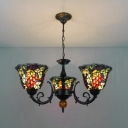 Fruitage And Leaves Tiffany-Style Three Light Multicolor Stained Glass Lampshade Chandelier