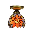 Single Light Semi Flush Mount with Tiffany Style Floral Theme Glass Shade, 6-Inch Wide