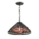 Dragonfly Hanging Pendant Tiffany Style 12-Inch Wide Conical Glass Shade, Multicolored