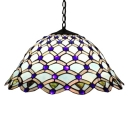 Tiffany-Style 2 Light Pendant Light with Floral Theme and Bell Shaped Glass Shade, 18