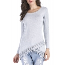 Boat Neck Long Sleeve Lace Panel Slim Fit Tunic Tee Top
