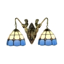 Double Light Wall Sconce in Mediterranean Style Mermaid with Tiffany White & Blue Stained Glass Shade in 14