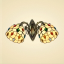 Classic Art 14-Inch Wide Wall Sconce in Tiffany Style with Jewels Embellished , 2-Light