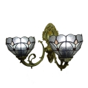 16-Inch Wide Tiffany Double Light Wall Sconce with Tulip Pattern Shade in Clear