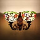 Tiffany-Style Dragonfly Floral Stained Glass Bowl Shade Sconce Lighting