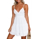 Pop Spaghetti Straps Plain Lace Panel Tie Hollow Back Mini Cami Summer Dress