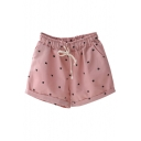 Repetitive Cat Printed Drawstring Waist Loose Shorts