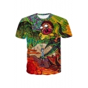 Summer Collection Cartoon Character Printed Round Neck Short Sleeve Tee