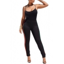 Sportive Striped Side Slim Fit Cami with High Waist Workout Pants