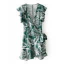 Holiday Plunge Neck Leaf Printed Ruffle Detail Min A-Line Wrap Dress
