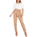 Lace Up Front Embellished High Waist Plain Leisure Pants