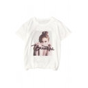 Trendy Character Letter Print Round Neck Short Sleeves Casual Tee