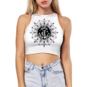 Street Fashion Anchor Print Sleeveless Slim Fit Cropped Summer Casual Tank Top
