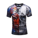 Mechanical Tiger Printed Round Neck Short Sleeve Slim Tee