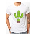 Comic Crying Cactus Letter Printed Round Neck Short Sleeve Tee