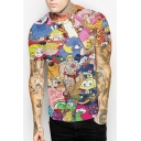 Digital Cartoon Animal Character Printed Round Neck Short Sleeve Unisex Tee
