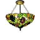 16-Inch Wide Tiffany 3-Light Semi-Flush Ceiling Light Fruit Theme Grape Pattern Glass Lampshade