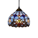 Blue Dome Glass Shade Pendant Light, 8
