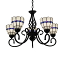 White Stained Glass Shade Tiffany Style Chandelier in Black Finish, 5 Lights