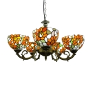 Orange-Red Sunflower Tiffany Style 6 Light Chandelier in Antique Bronze Finish